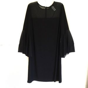 MSK Black Shimmer Illusion Dress Bell Sleeves 2X